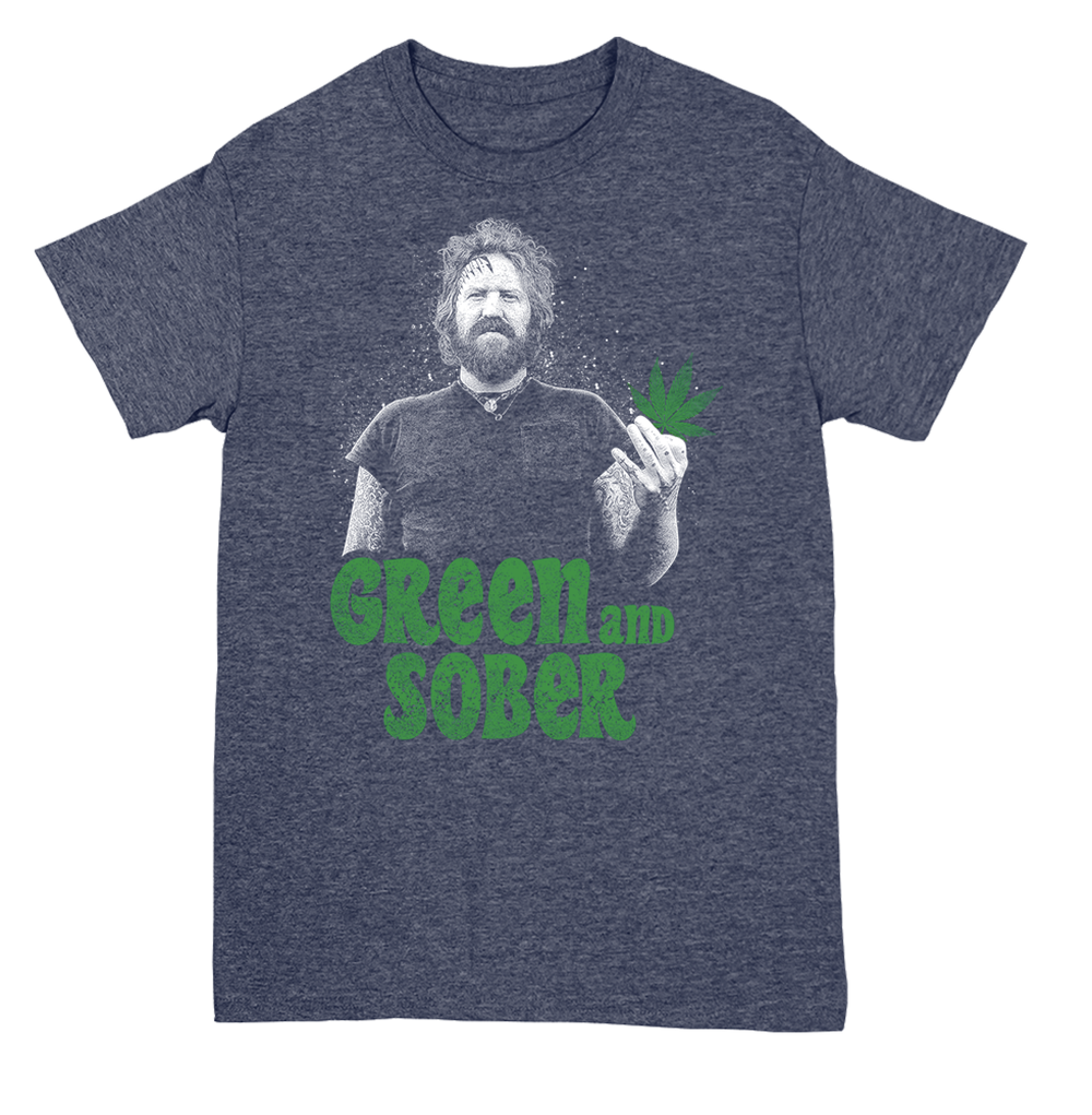 GREEN & SOBER - BRENT HINDS TRIBUTE T-SHIRT - BLUE HEATHER GRAY