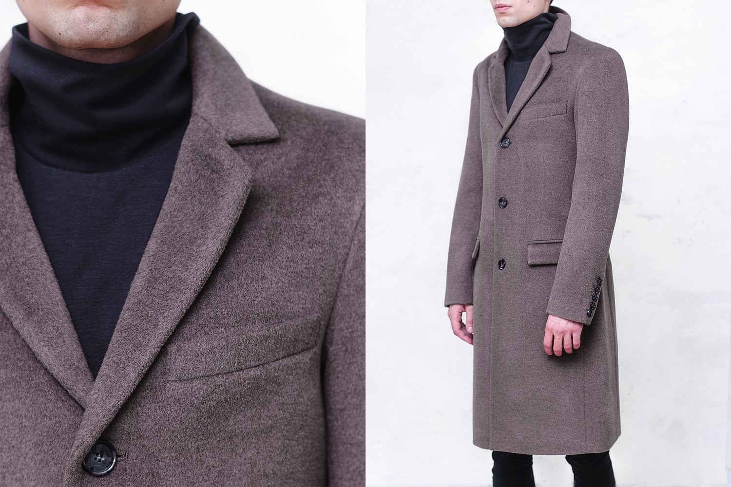 Image of LIMITED EDITION | Taupe Gray Fleece Wool Top Coat