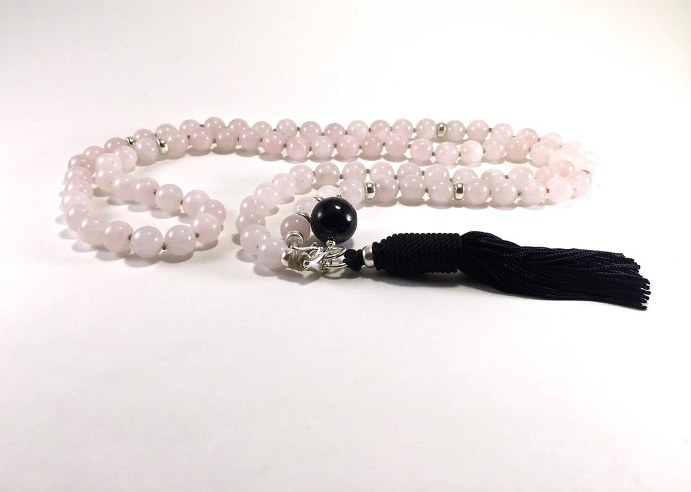 Image of Shungite Collar Double Infinity Rose Quartz Mala 88