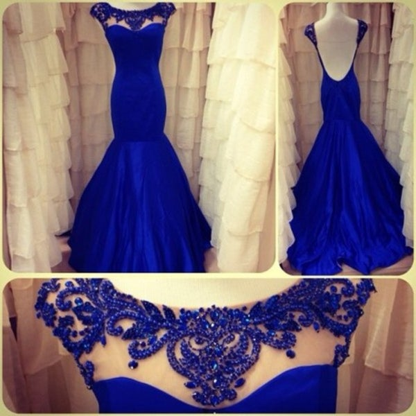 Image of Royal Blue Satin Cap Sleeves Mermaid Prom Dress With Open Back