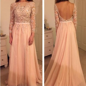 Image of Long Sleeves Champagne Lace Appliques V Back Evening Dress With Crystals