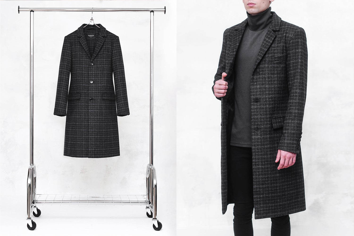 Image of LIMITED EDITION | Charcoal Check Wool-Blend Top Coat
