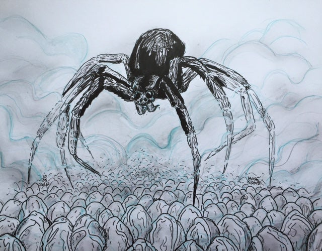 Image of DRAWLLOWEEN 2016: WHAT LIES IN THE MIST? 8 LEGS, 1,000 LEGS original