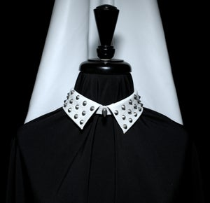 Image of White leather studded collar