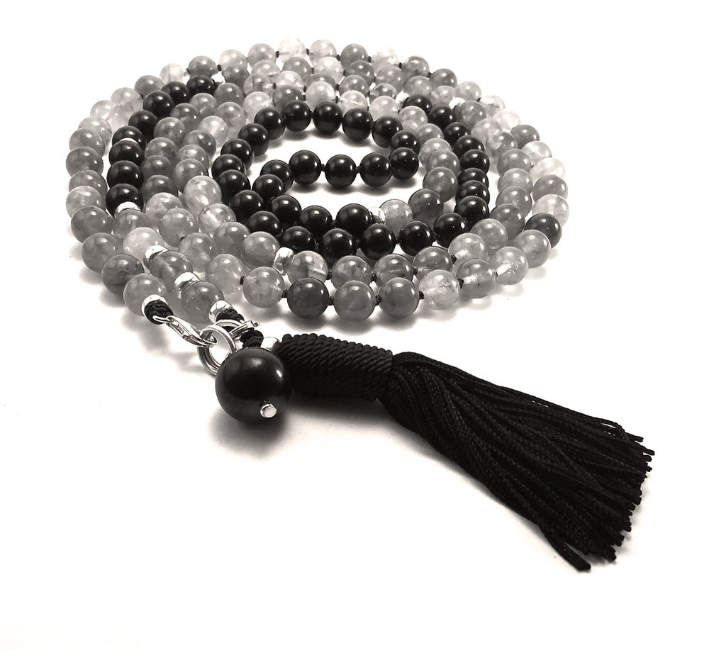 Image of Infinite Journey Grey Quartz + Shungite Mala
