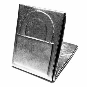 Image of Silver leather embossed padlock wallet.
