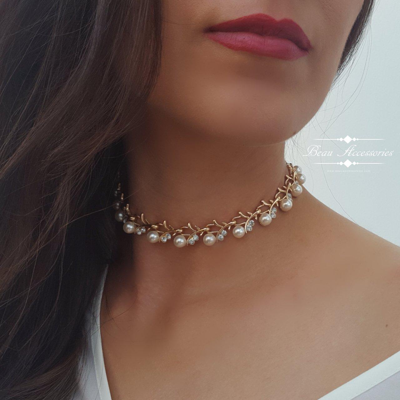 Image of Pearl & Rhinestone Choker Necklace