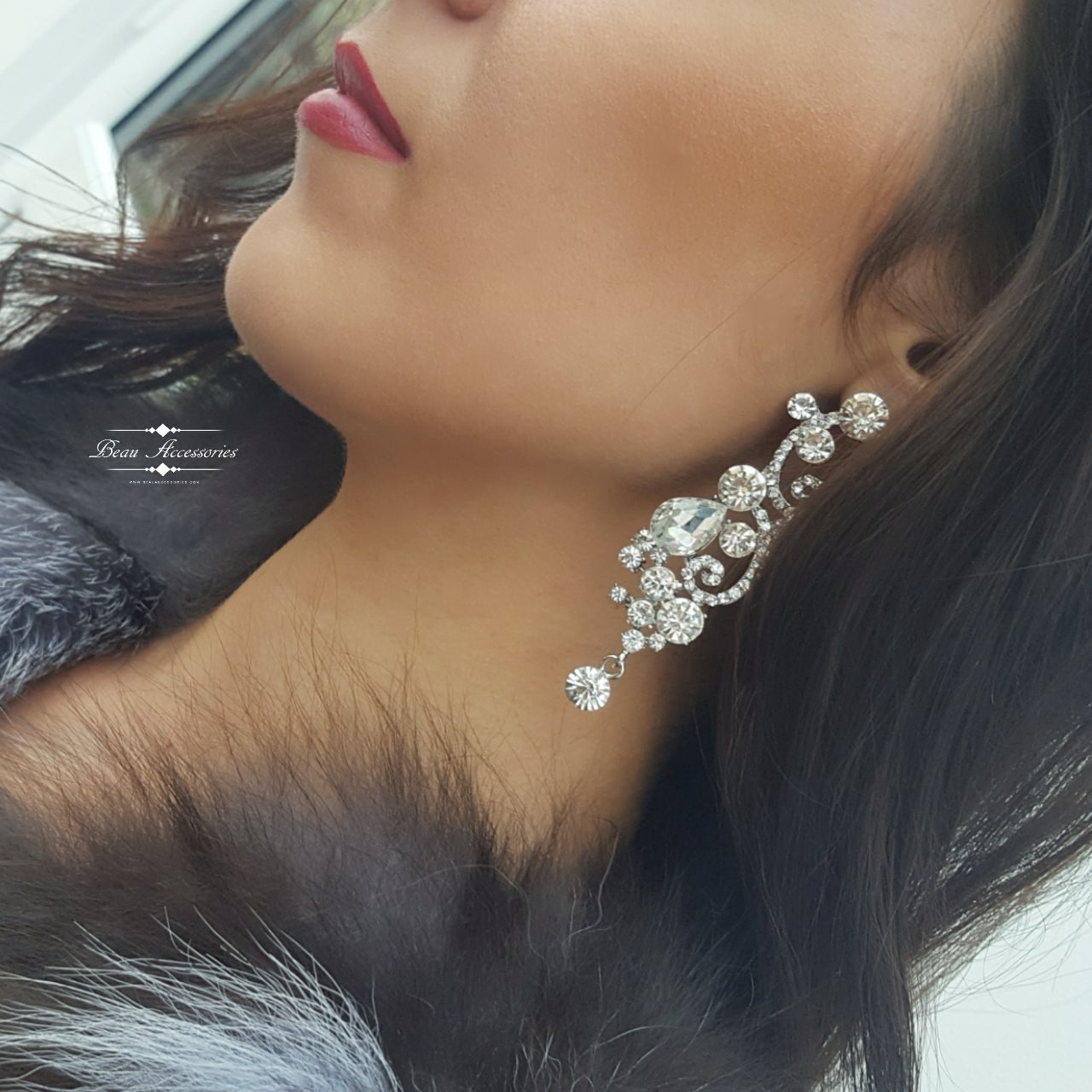 Image of Silver Crystal Droplet Earrings
