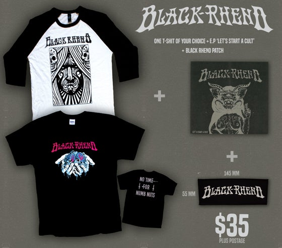 Image of Black Rheno 'TEE + CD + PATCH' PACK