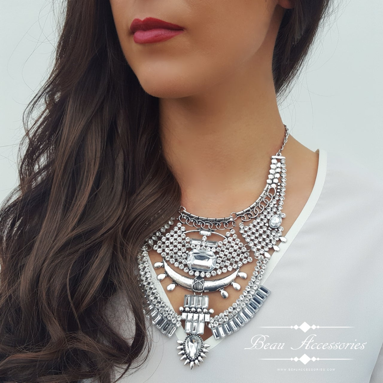Image of Boho Silver Crystal Encrusted Necklace