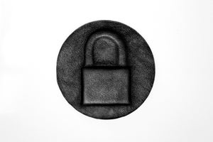 Image of Embossed leather padlock iron on patch