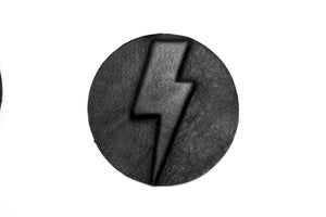 Image of Embossed lightning iron on patch