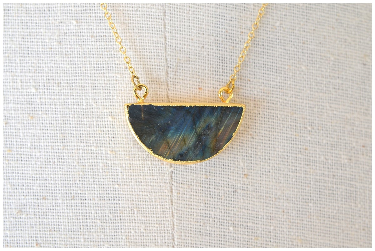 Image of Labradorite Crescent Pendant Necklace