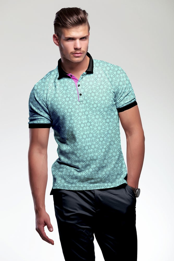 Image of Men's polo shirt cotton mint - Arabesque