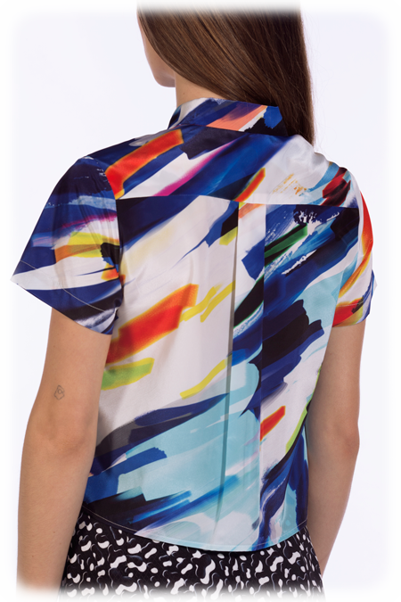 Image of 50% OFF - Cropped Short Sleeve Shirt - Mixed Media