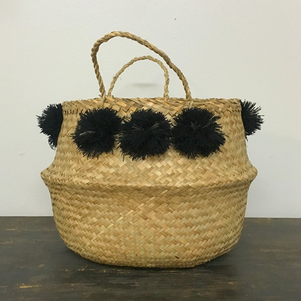 Image of venice basket - black pom poms medium