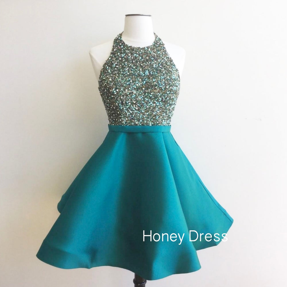 Image of Elegant High Neck Beaded Halter Ball Gown,Teal Satin A-line Cocktail Dress With Open Back