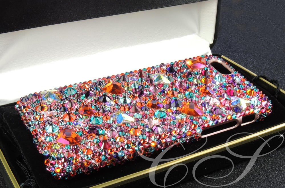 Image of 'Butterfly Kiss' in Berry Tangerine for the iPhone & Samsung Range with Crystals By Swarovski®