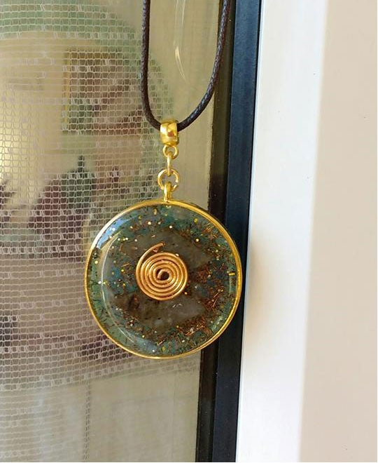 Image of Round GoldenGreen Spiral Pendant
