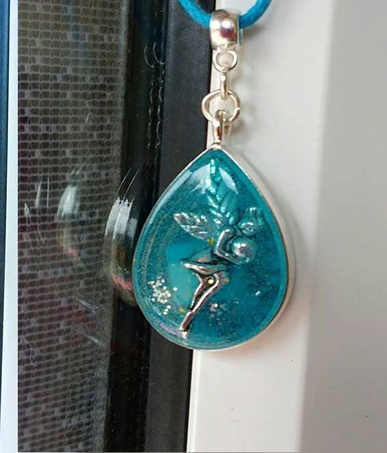 Image of Blue Teardrop Fairy Pendant