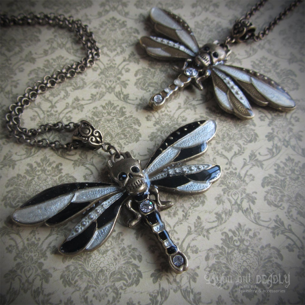 Skull Dragonfly Enamel Necklace