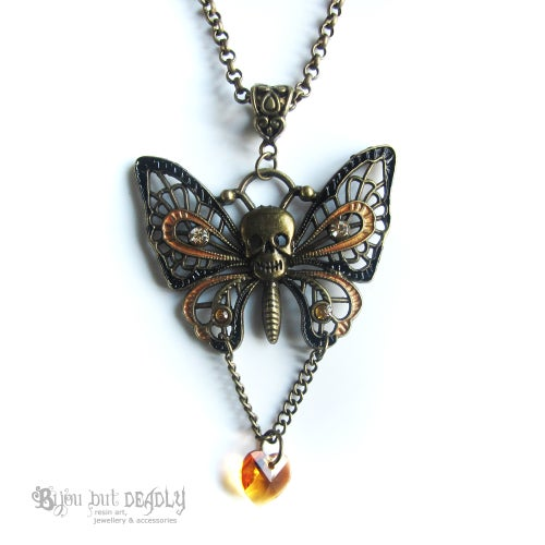 Image of Swarovski Skull Butterfly Necklace Bronze