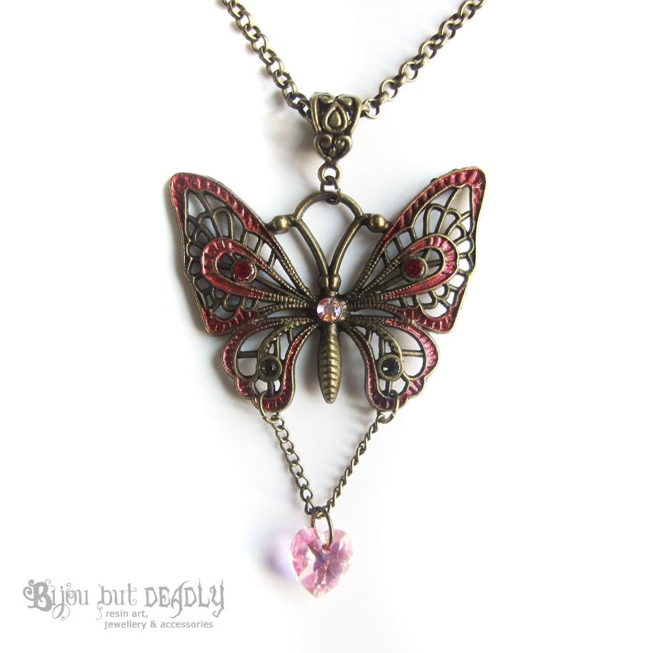 Enamel Butterfly Crystal Necklace - Bronze