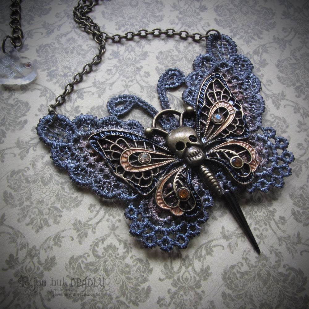 Lace Gothic Butterfly Necklace Bronze