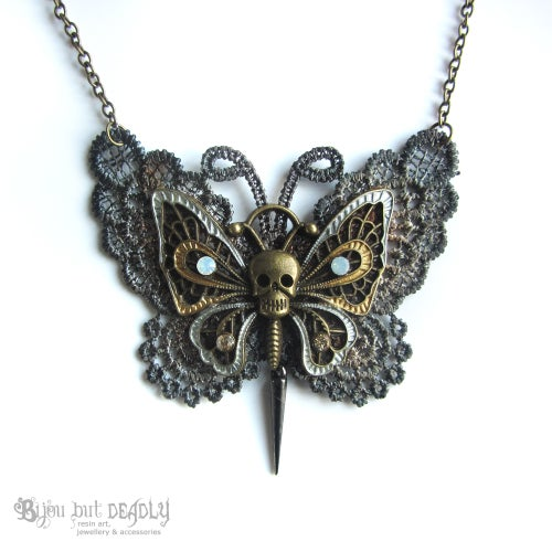 Image of Lace Gothic Butterfly Necklace Bronze