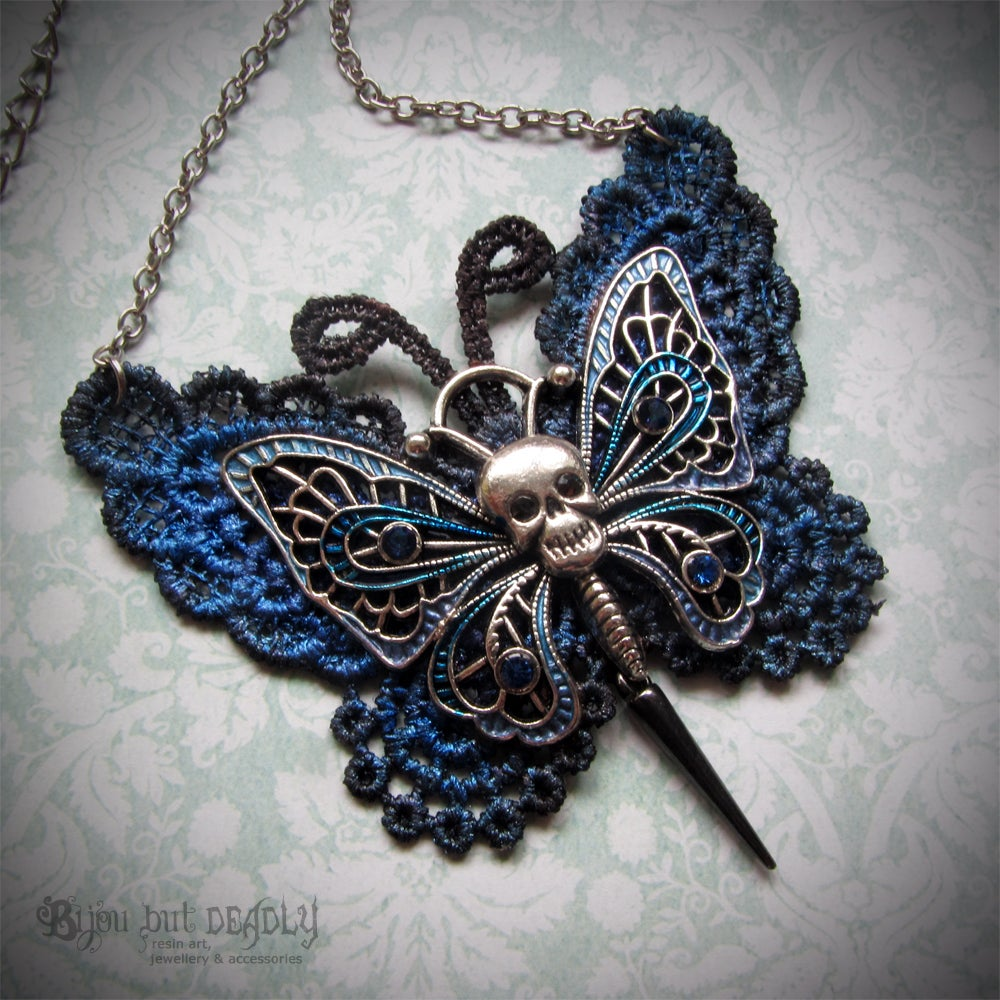 Image of Lace Gothic Butterfly Necklace Silver