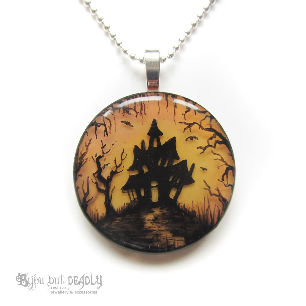 Haunted House in Woods Pendant
