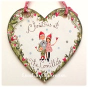 Image of Personalised Christmas Family Heart Decoration-Large