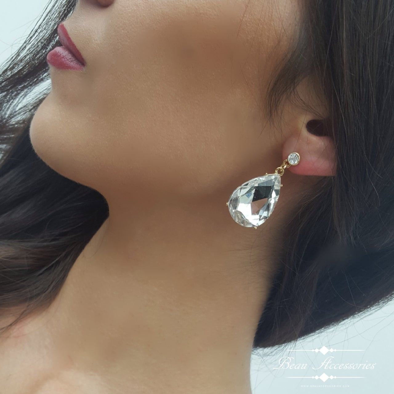 Image of Clear Crystal Peardrop Earrings