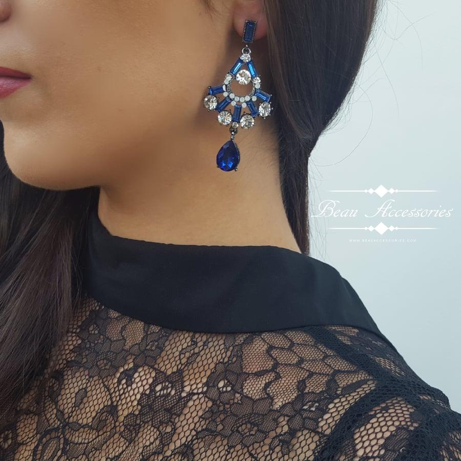Image of Royal Blue Crystal Droplet Earrings