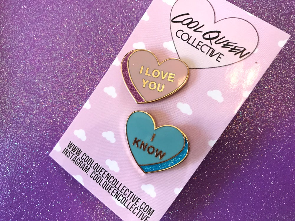 Image of Conversation Heart Enamel Pin Set: GLITTER