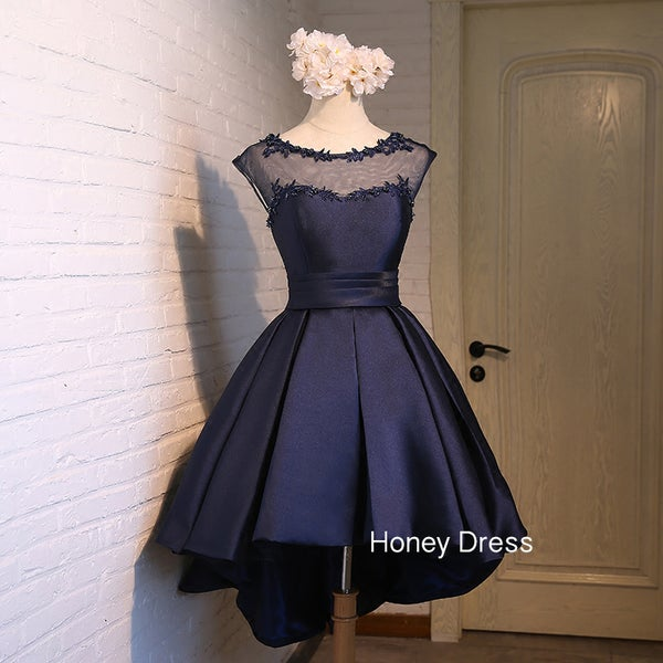 Image of Elegant Navy Blue Illusion Sweetheart Party Dress,Red/Pink Ruche A-line Cocktail Dress With Lace-Up