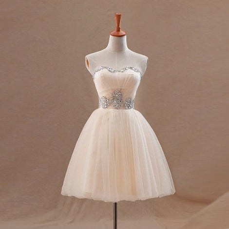 Image of Champagne Tulle Strapless Sweetheart Short Party Dress With Beading