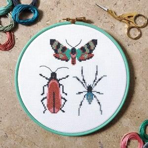 Image of Wine Bug Trio cross-stitch PDF pattern