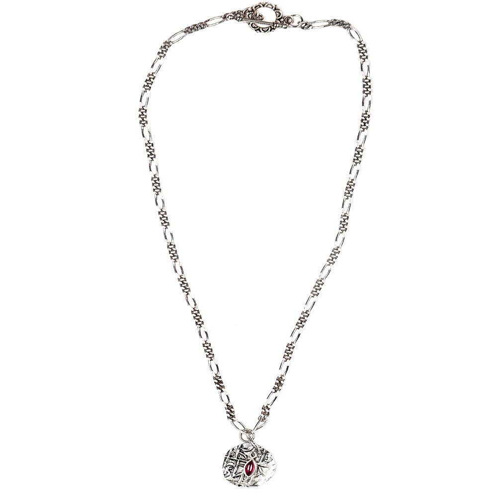 Image of GARNET & ANTIQUE COIN NECKLACE