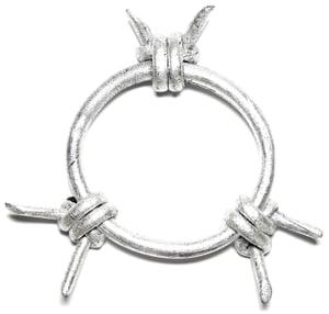 Image of Silver leaf leather barb bracelet