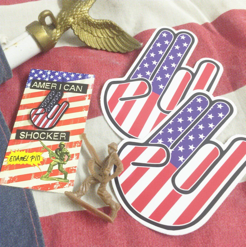 Image of American Shocker - Pin & Sticker Combo