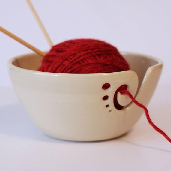 Image of White Ceramic Yarn Bowl, Yarn Bowl, Knitting Bowl, Crochet Bowl, Pottery Yarn Bowl,