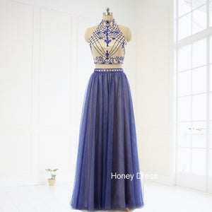 Image of Purple Tulle Halter Two-Piece Prom Dress, Beaded High Neck Floor Length Prom Dress With Keyhole Back