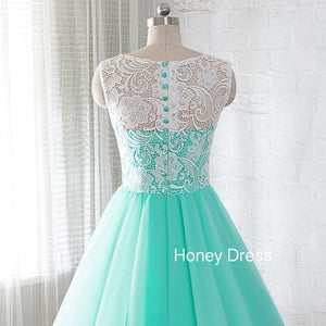 Image of Mint Lace Tulle Ball gown Cocktail Dress With Covered Button