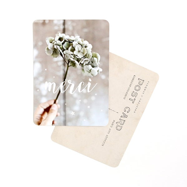 Image of Carte Potsale MERCI / HORTENSIAS
