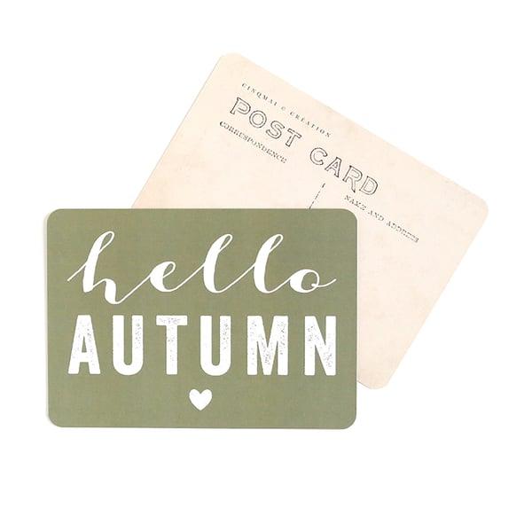 Image of Carte Postale HELLO AUTUMN / KAKI