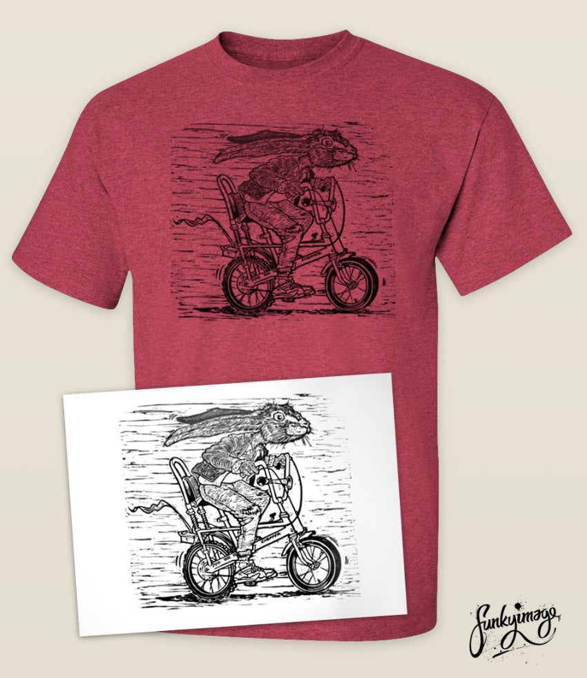 Image of Hare Cycling Linocut T-shirt & Print