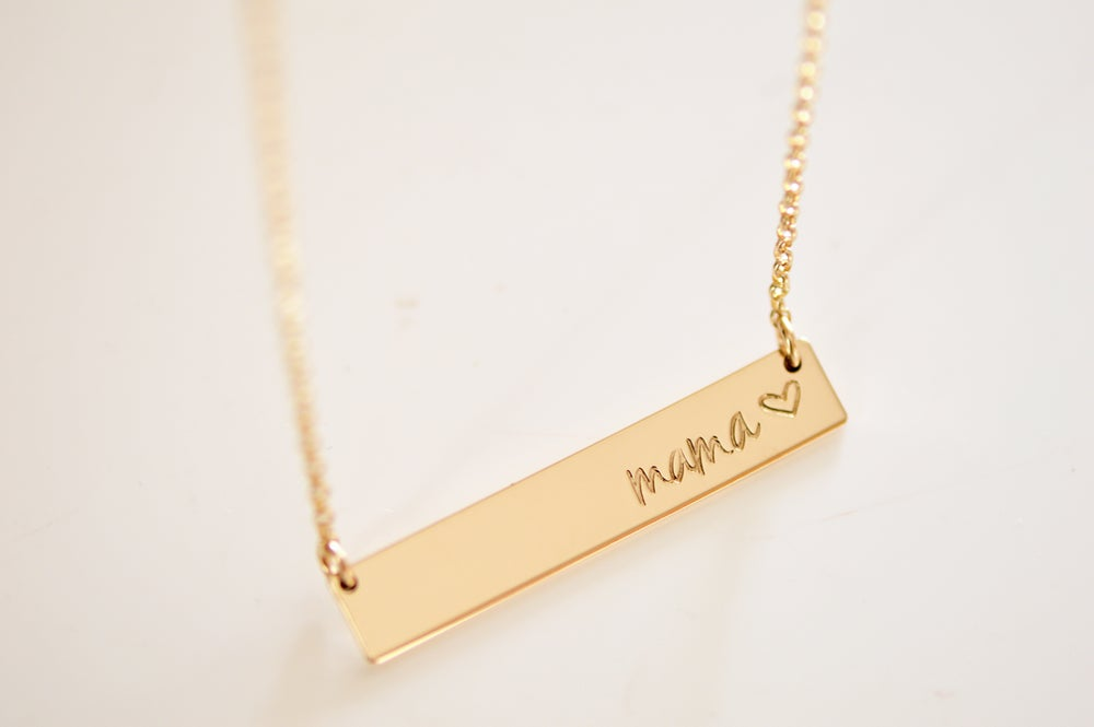 Image of MOM / Mama Bar Necklace - Heavy Bar Necklace - Nameplate - Mother's Bar Necklace