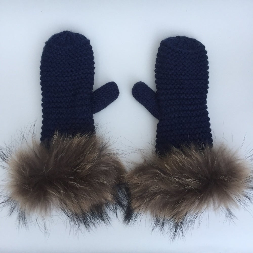 Image of Ladies Navy Fur Cuffed Mittens