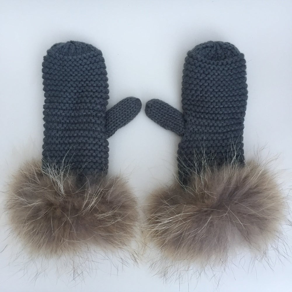 Image of Ladies Ash Grey Fur Cuffed Mittens - WAS £35